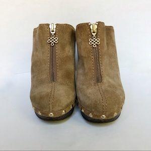 Diane Von Furstenberg Shoes - Diane von Furstenberg - Tan Suede Wedge Clogs